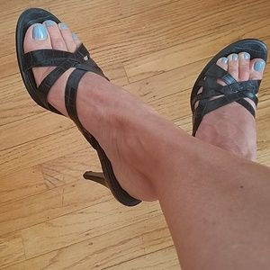 Nine West black Leather Sandals